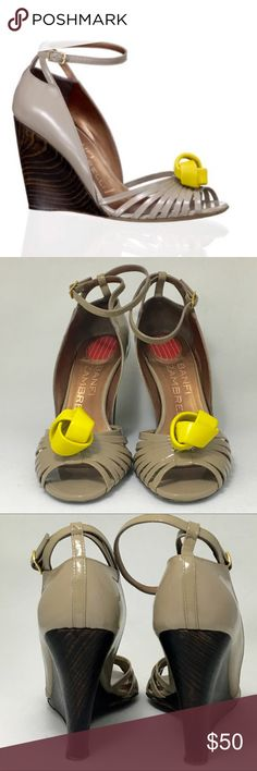 """Banfi Zambrelli 'GABRIELLE' wedge sandals• Women's Sz 6 1/2-Taupe and yellow (leather knot center) contrast wedge• peep toe• patent leather upper and leather sole• 3 3/4"""" wooden heel• stunning on feet• gently used• no longer sold retail• dust bag included• No shoebox. Banfi Zambrelli Shoes Wedges"""