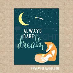 Fox Nursery Quote Art, Animal Nursery Art, Aztec Nursery Art. Always dare to Dream quote
