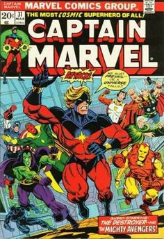 Captain Marvel Vol 1 31 - Marvel Comics Database Old Comic Books, Marvel Comic Books, Comic Book Artists, Comic Book Covers, Comic Book Characters, Marvel Characters, Comic Character, Silver Age Comics, Marvel Girls