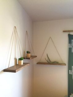 DIY hanging shelves. Bedroom decor. Rustic bedroom. Lady's Little Loves