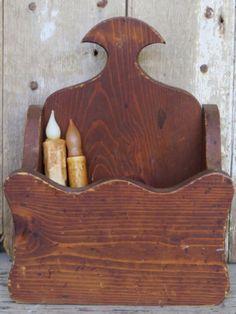 ANTIQUE WOOD CANDLE BOX Primitive PA Dutch Folk Art RUSTIC AMERICANA Wooden Box