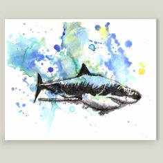Fun Indie Art from BoomBoomPrints.com! http://www.boomboomprints.com/Product/IDILLARD/Great_White_Shark_Art/Art_Prints/8x10_Print/