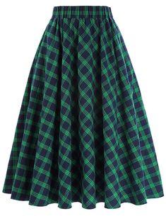 What Did Women Wear in the 1950s? Kate Kasin Womens A-Line Vintage Skirt Grid Pattern Plaid KK633/KK495 $22.99 AT vintagedancer.com