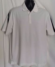 Nike Golf Dri Fit Polyester White and Black Polo Mens Shirt Size Large #Nike