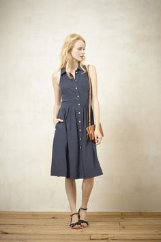 A chambray shirt dress for service
