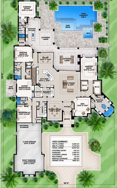 Mediterranean Dream Home Plan with 2 Master Suites Florida Mediterranean Spanish Luxury Floor Master Suite Butler Walkin Pantry CAD Available DenOfficeLibra. The Plan, How To Plan, Dream House Plans, House Floor Plans, My Dream Home, Dream Homes, House Design Plans, One Level House Plans, 6 Bedroom House Plans