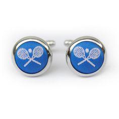 Tennis cufflinks in blue