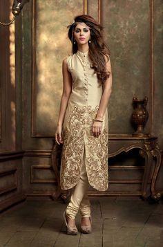 Beige Silk Pakistani Style Suit 61028