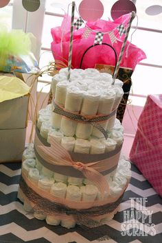 The Happy Scraps: It's A Girl Baby Shower - diaper cake