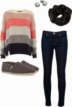 Adorable stripes sweater, flatted summer shoes, jeans and scarf fashion for all age | Fashion World