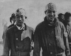 Japanese Navy pilots wearing hachimaki headbands, photo taken during the heavy dogfighting over Shanghai, August, 1937.