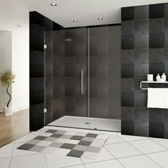 """LessCare Ultra-E 36"""" x 72"""" Hinged Shower Doors with Side Panel"""