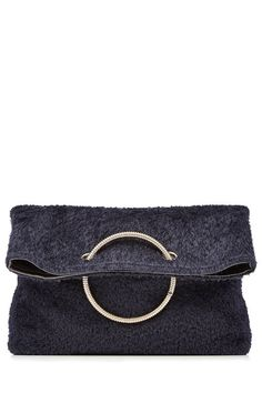 Spiral Clutch with Leather and Shearling | Victoria Beckham