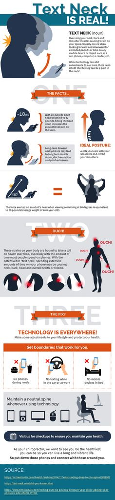 Text Neck is Real! Chiropractic care can correct the postural changes from text neck. Come in to Chiropractic Fort Collins and get it checked out! Chiropractic Office, Chiropractic Care, Chiropractic Benefits, Hernia, Good Posture, Better Posture, Posture Stretches, Sciatica Exercises, Perfect Posture