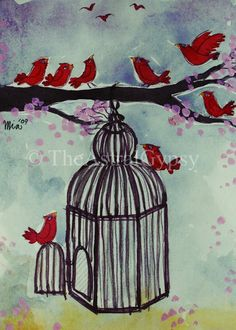 Bird cage mural painted on the nursery wall