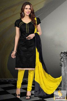 Costume up with beautiful black and yellow silk santoon churidar salwar kameez online with low price. Purchase this embroidery suit online with chiffon fabric by wholesale manufacturer Fashions Myntra Surat India. Diwali Special Discount Offer:  5% OFF FOR Buy 1 Product 10% OFF FOR Buy 2 Product 15% OFF FOR Buy 3 Product or more  #casualdress, #casualsalwarsuit, #formalsalwarsuit, #salwarkameez, #churidarsalwarsuit More : http://www.pavitraa.in/store/casual-dress/ callus: +91-7698234040