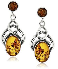 Sterling Silver Celtic Design Amber Earrings. Amber is the lightest of gems and gives you a warm feeling that is why it is very comfortable to wear. The image may show slight differences in texture, color, size and shape. Stones are heat and pressure treated. Width 1.6cm Length 3.7cm. Imported.