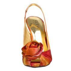 gold, orange print heels