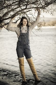 Girl rubber boots mud