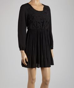 Another great find on #zulily! Black Lace Scoop Neck Dress by Young Essence #zulilyfinds