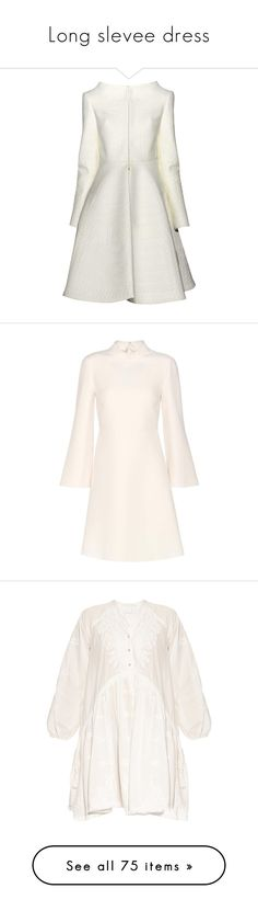 """""""Long slevee dress"""" by hbee-1234 ❤ liked on Polyvore featuring outerwear, coats, dresses, casacos, vestido, white coat, white, valentino dress, white dress and silk dress"""