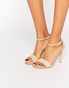 Image 1 of Dune Madeira Nude Snake Effect Barely There Heeled Sandals
