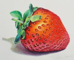 Color Pencil Drawing Ideas This strawberry was created with Prismacolour Pencils on Waterford Saunders cold press paper yummo! I particularly enjoyed drawing the the leaves. Color Pencil Picture, Colored Pencil Artwork, Coloured Pencils, Color Pencil Art, Strawberry Drawing, Strawberry Color, Fruits Drawing, Food Drawing, Drawing Ideas