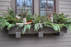 Window Box created on site by a Lexington Floral designer~ featuring Cedar, Birch Bark Roll, and Red Dogwood.
