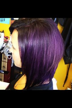 Short dark hair with purple... Finally found the exact cut and color that I want! :D I'm in love