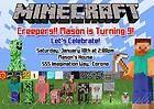Minecraft Birthday Party Invitation PIC JPEG Boy Girl Cool
