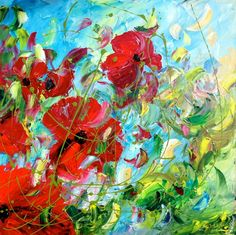 ARTFINDER: Singing Poppy's by Emma Sian  Pritchard - Another in my Poppy and Poppy encore series Painted on a square deep edge canvas Varnished and ready to hang All Paintings going overseas from the UK will...