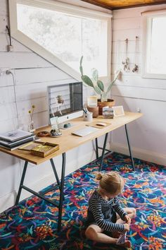 my scandinavian home: A super relaxed, boho cottage in Australia Home Office, Cottage Office, Office Spaces, Small Office, Beton Design, Apartment Living, Apartment Therapy, Australian Homes, Scandinavian Home