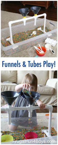 Sensory Play with Funnels, Tubes, and Colored Beans - Great for fine motor skill development. Preschoolers will love this fun sensory play station! by jewellInformations About Sensory Play with Funnels, Tubes, and Colored Beans PinYou can easily use Motor Activities, Infant Activities, Preschool Activities, Children Activities, Preschool Learning, Young Toddler Activities, Activities For 1 Year Olds, Toddler Learning, Therapy Activities
