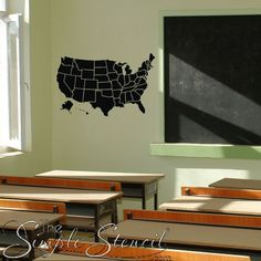 Outlined United States Map With Optional Fill In States Wall - Custom vinyl wall decals for classrooms