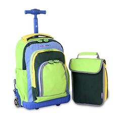 J World wheeled school bag with matching lunch bag. Neon green. Wheels  light up 708c04feb496b
