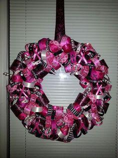 Breast cancer ribbon wreath