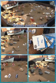 """Beach-themed small world play from Pre-school Play ("""",) Eyfs Activities, Infant Activities, Summer Activities, School Play, Pre School, Ocean Themes, Beach Themes, Diorama, Seaside Theme"""