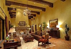Tuscan Living Room With Exposed Beams