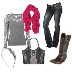 A fashion look from December 2012 featuring see through shirt, boot cut jeans and western boots. Browse and shop related looks.