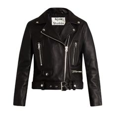 Acne Studios Mock leather biker jacket (€1.555) ❤ liked on Polyvore featuring outerwear, jackets, black, slim fit jackets, moto jacket, biker jackets, leather motorcycle jacket and genuine leather biker jacket