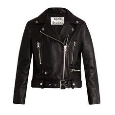 Acne Studios Mock leather biker jacket (£1,340) ❤ liked on Polyvore featuring outerwear, jackets, black, leather moto jackets, acne studios jacket, slim fit biker jacket, real leather jackets and leather motorcycle jacket
