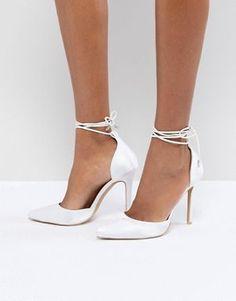 6d62d1891bc Be Mine Bridal Leila Ivory Satin Ankle Tie Pumps Satin Pumps