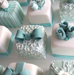 light blue mini cakes...