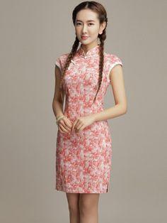 Short Floral Linen Qipao / Cheongsam Dress for Summer