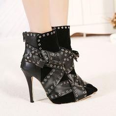 Cheap Winter Fashion Pointed Toe Patchwork Zipper Design Rivets Decorated Stiletto Super High Heel Black PU Ankle Marten