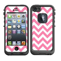 Skins FOR Lifeproof iPhone 5 Case – Chevron Light Pink and White - life proof - Free Shipping - Lifeproof Case NOT included on Etsy, $9.95