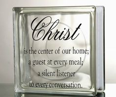 "DIY Vinyl Decal ""Christ is the center of our home"" for Glass Blocks, Tiles, Mirrors on Etsy, $5.00"