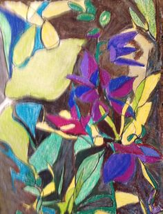 Colored pencil on printmaking paper, c. 2015 - Stephanie Rose Bird, Larkspur #1