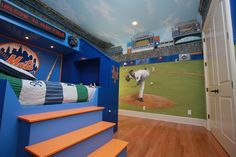 FantasyKidsRoom : Baseball themed room and stadium complete with custom made dugout bed! http://twitpic.com/4ac4ef | Twicsy, the Twitter Pics Engine