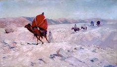 Peinture d'Algérie : Peintre Allemand, Ernst Weckerling, (1877–1917), Huile sur toile 1904, Titre: Caravane à travers le désert algérien. Collection: Farhat Art Museum.